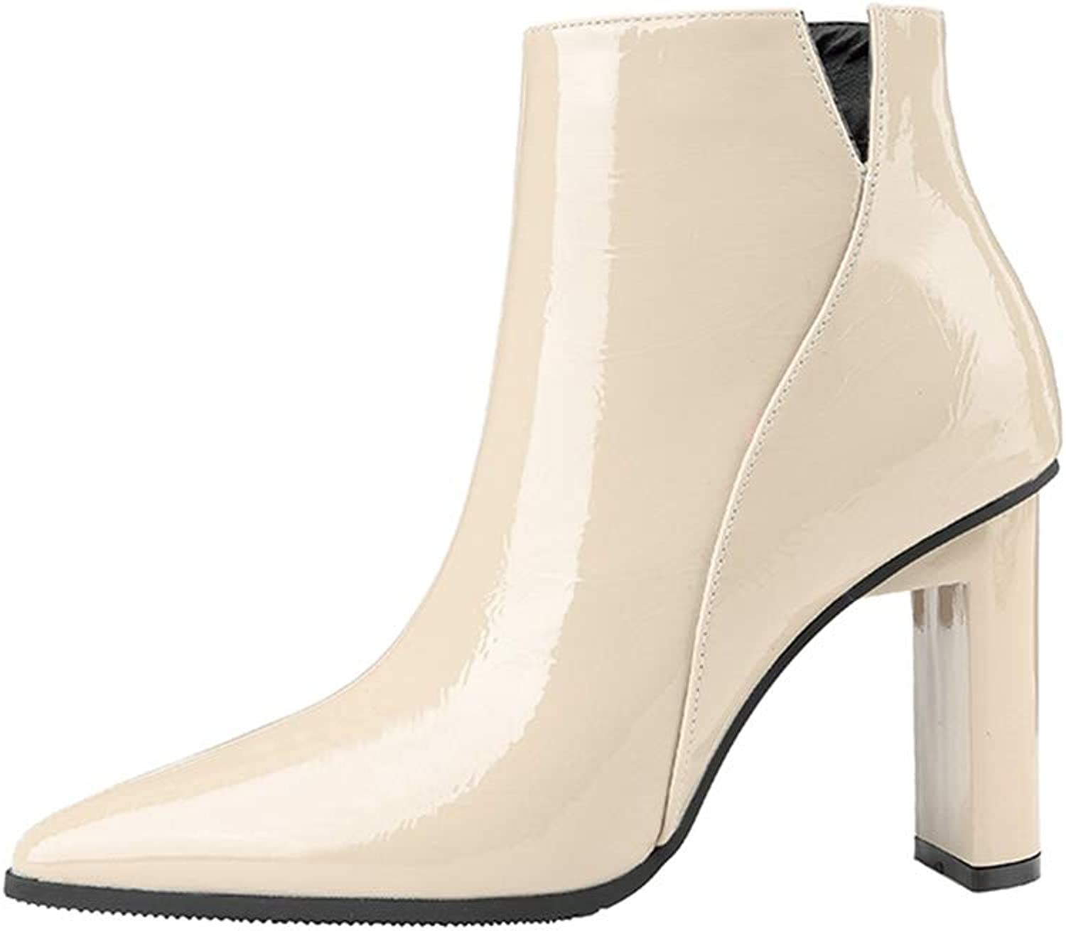CYBLING Women's Fashion Closed Pointy Toe Ankle Boots V Cut Chunky High Heel Office Dress Booties