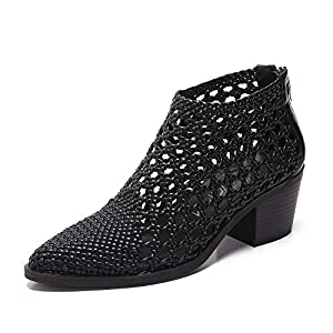 MACKIN J 381-2 Women's Ankle Boots Pointed Toe Chunky Low Heel Dress Sandals (5.5, Black) from