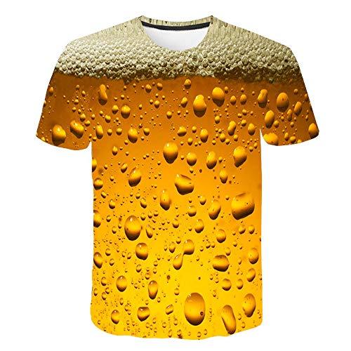 WONS T-Shirt Kreativ Bier Blase 3D Gedruckt Kurzärmelig Unterhemd Karikatur Paar Mantel Unisex Mode Beiläufig/Wie gezeigt / 4XL