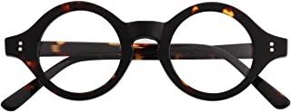 Agstum Handmade Acetate Small Round Optical Glasses Frame Spectacles Clear Lens