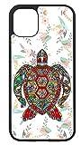 Coque pour IPHONE 5C Tortue Art Floral, décor Fleuri - Coque Noire TPU Souple (IPHONE 5C)