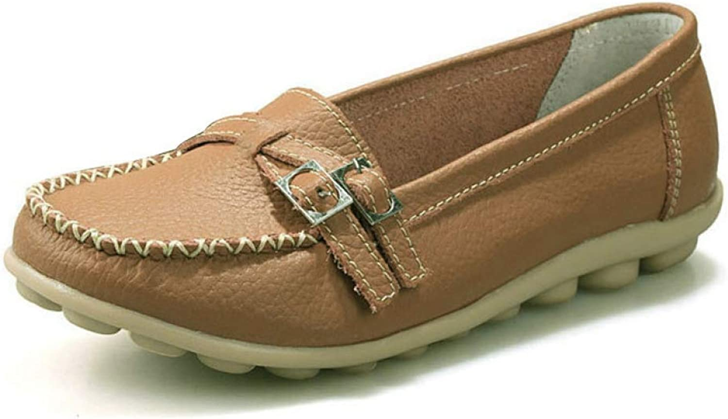 Fay Waters Women's Loafers Buckle Strap Flat shoes Casual Slip On Moccasins Sewing shoes