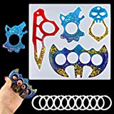 Mity rain Brass Knuckle Self-Defense Resin Mold for Keychain, Bat Skull Wolf Silicone Epoxy Casting Mold with 10 Pcs Key Rings for DIY Women Gifts, Jewelry Making Crafts