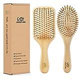 VICKYLEE 2PCS Set pettini per capelli in bambù naturale di grandi dimensioni (rettangolo + oval) Spazzola districante con setole di bambù per anziani Adulti, femmina, maschio Ridurre l'effetto crespo