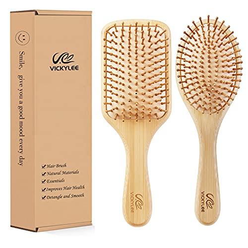 Vickylee 2 en 1 peine natural de bambú para ancianos, adultos y niños, masaje de cuero cabelludo, pelo suave