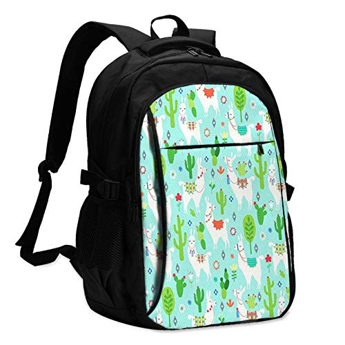 Travel Laptop Backpack with USB Charging Port, Llama Turquoise Llamas Floral Business College School Computer Bag Gifts for Men & Women