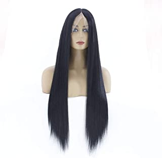 Dmqpp Women's Lace Front Wig Long Straight Synthetic Wig Pre Plucked Natural Hairline Middle Parting Fashion Wig 24Inch (C...