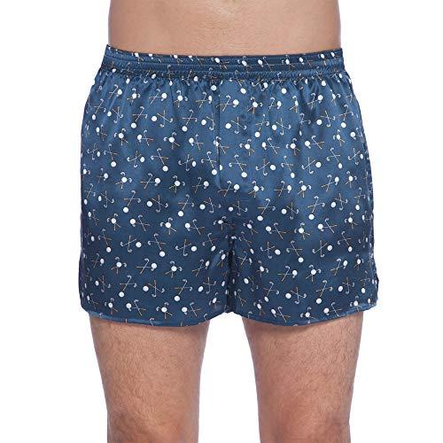 INTIMO Men's Silk Golf Graphic Boxer Shorts Underwear Blue