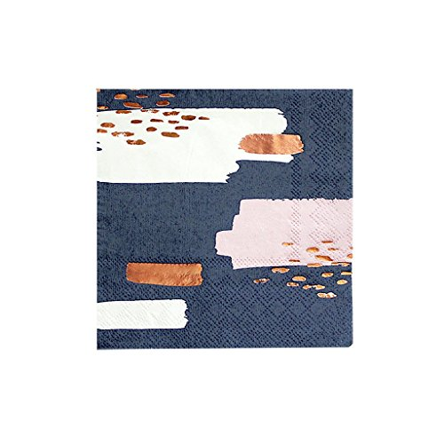 Harlow & Grey Erika Navy Modern Abstract with Rose Gold Cocktail Paper Napkins - Birthday, Wedding, Showers Party Napkins - (20 Count)