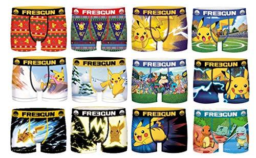 Freegun Underwear. - Boxer Freegun Homme Cobranding Pokemon en Microfibre -Assortiment modèles Photos Selon arrivages- Pack de 6 Boxers Surprise S