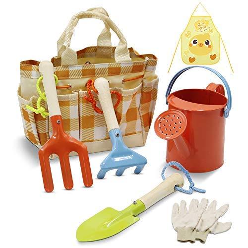 Juego de herramientas de jardinería para niños, metal, pala, rastrillo, paleta en una bolsa de mano, incluye regadero..
