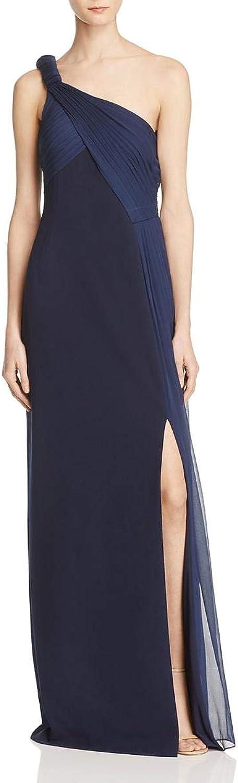 Aidan Mattox Womens Silk Layer One Shoulder Evening Dress