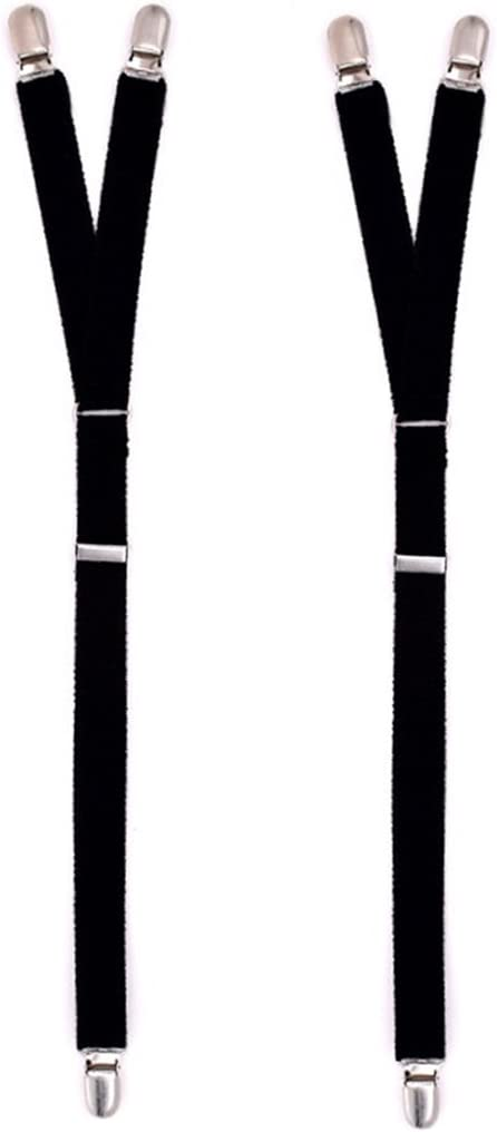 niumanery 2Pcs/Set Y Style Elastic Leg Suspender Strap Shirt Stays Non-Slip Locking Clamps