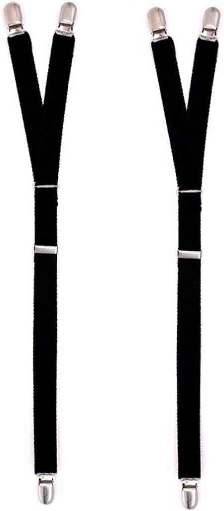 Hibye 2Pcs/Set Y Style Elastic Leg Suspender Strap Shirt Stays Non-slip Locking Clamps
