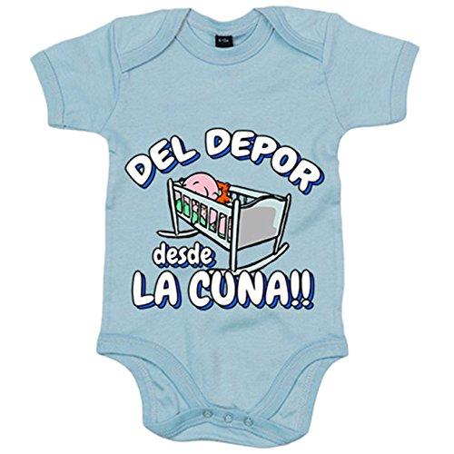 Body bebé del Depor desde la cuna La Coruña fútbol - Celeste, 6-12 meses