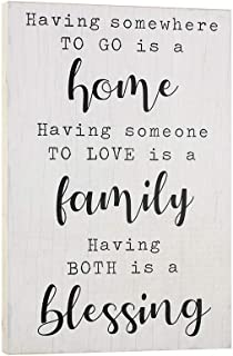 Elegant Signs Farmhouse Decor for The Home - Housewarming Gifts - Having Somewhere to Go Wall Art 9x14 Blessed Family Sign