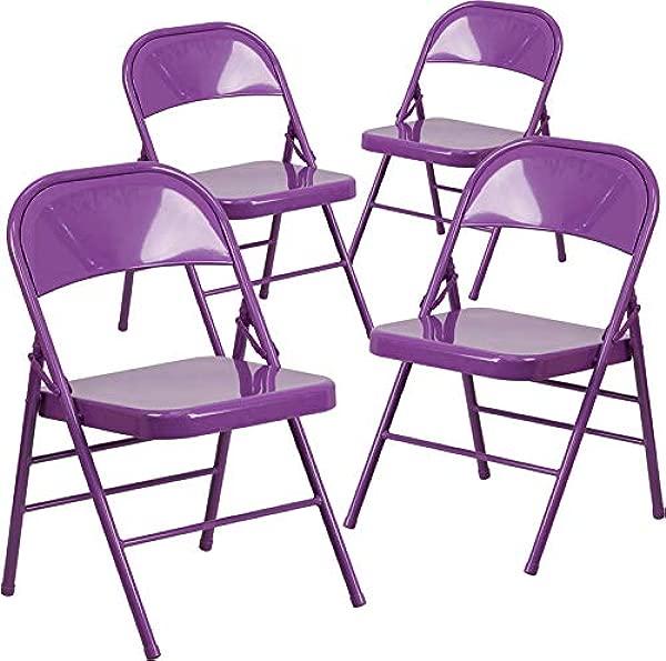 艾玛奥利弗 4 Pk 多彩三撑金属折叠椅紫色