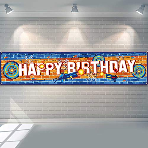 Dart War Party Banner Happy Birthday Party Banner Supplies Dart Party Favors Dart Party Decorations