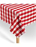 American Summertime Gingham Tablecloth 100% Cotton | Premium Quality | Red/White Checkered Square Tablecloth 52' x 52' | Stitched 1' Hem | Extra Heavyweight | Machine Washable for Mom