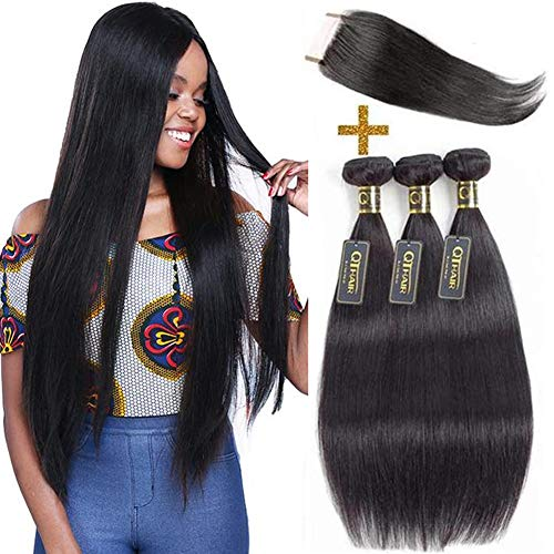 QTHAIR 12A Brazilian Straight Hair 3 Bundles with Closure(12' 14' 14' with 10') 12A Brazilian Straight Virgin Hair Weave 100% Unprocessed Brazilian Remy Hair With Free Part Lace Closure