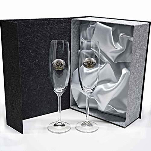 la galaica | Juego de 2 Copas para Champagne o Champán de Cristal | Regalo Ideal para Bodas de Oro, Plata, 25 o 50 Aniversario | Colección Gastro | Aplique Bilaminado