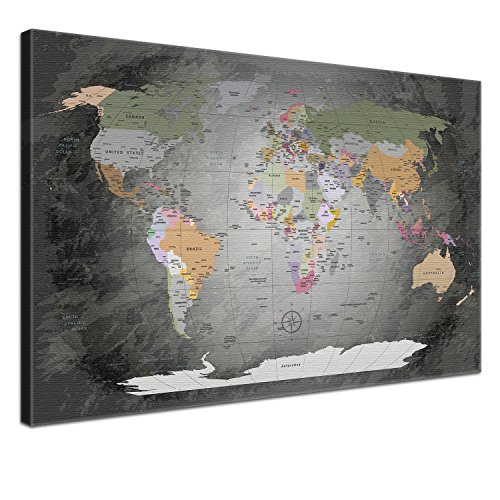 Mural - World Map Noble Gray - en 60 x 40 cm, una sola pieza, Premium, Corcho, inglés