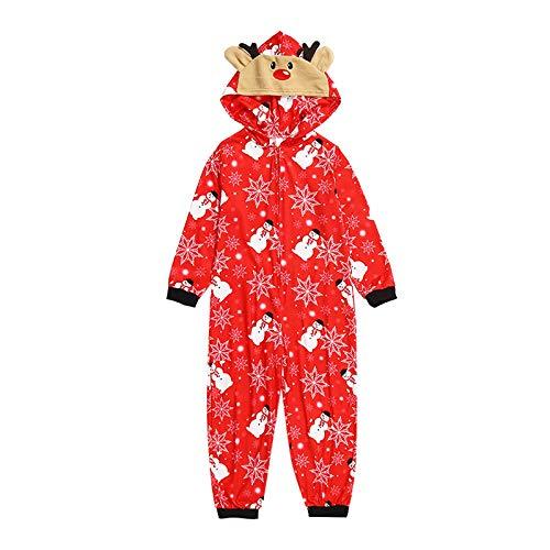 Hengyouhui Familien Weihnachten Pyjamas Set Jumpsuit mit Reißverschluss Kapuze Schlafanzüge Overall Hausanzug Pyjama Overall