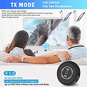 Friencity Wireless Headphones for TV Watching, Bluetooth Rechargeable Earbuds Headset Hearing w/Audio Transmitter for PC Radio Projector DVD PS4 w/3.5mm Aux RCA, Plug n Play, No Audio Delay