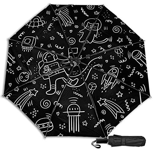 LYYNBLA SpaceCompact - Paraguas de viaje para exteriores, con diseño de triple, resistente al viento, para exteriores, lluvia y sol, Impresión interior., Taille unique