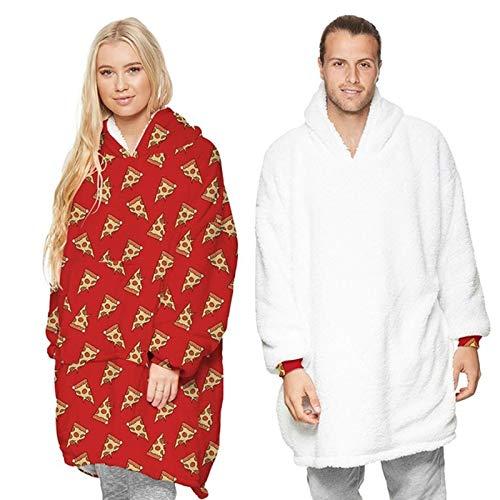Lushforest Kapuzen-Sweatshirt-Decke, übergroß, superweich, warm, bequem, für Erwachsene, Herren, Damen, Teenager Gr. Einheitsgröße, Cheese Red