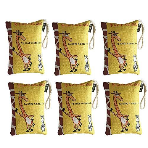 Bolsa de carbón de bambú 250g Retire el formaldehído Bolsa de eliminación de olores, Dormitorio, Closet, en el Carro Bolsa de purificación de Aire de Dibujos Animados de carbón Activado (6 Piezas)