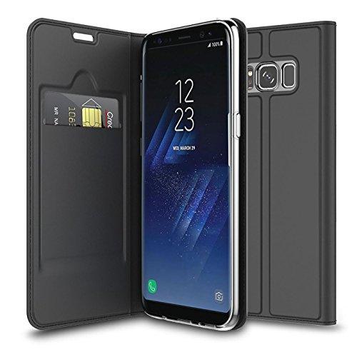 Verco Handyhülle für Galaxy S8, Premium Handy Flip Cover für Samsung Galaxy S8 Hülle [integr. Magnet] Book Case PU Leder Tasche, Schwarz