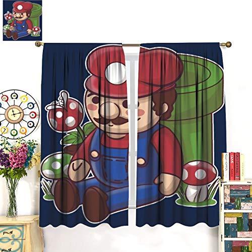 Petpany Juego de cortinas de ventana de Super Mario Game Comics de 183 x 160 cm, para dormitorio, guardería, sala de estar.