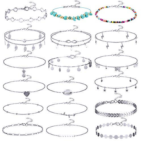Tacobear 18 PCS Anklets Bracelets Foot Anklets Chains Adjustable Pendant Anklets Multi Layer Beach Anklets Boho Beads Anklet Bracelets with Turquoise Foot Jewelry Set for Womens Girls (silver)