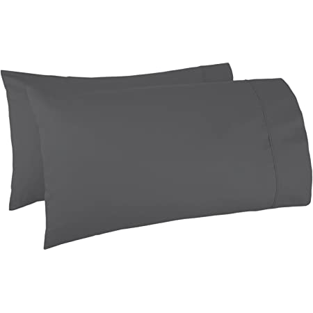Mayfair Linen Pillow Case Set 500 Thread Count 100% Egyptian Cotton 2pc, Silky Soft & Durable (Standard Pillow Case, Dark Grey)