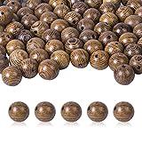 Chstarina 100 Piezas Abalorios de Madera Natural Cuentas de Madera Redondas 10mm Bolas para Fabricación de Joyas, Brazalete y Collar, Bricolaje Manualidades
