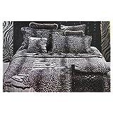 Roberto Cavalli Colcha acolchada ligera de raso de puro algodón Made in Italy Art. Tiger Leopard - Negro, 2 plazas