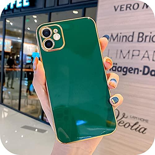 Caja suave del teléfono móvil del gel de sílice de la galjanoplastia de lujo para Iphone Xr X Xs Max 6 6S 7 8 Plus 12 11 Pro Max Mini moda teléfono celular Case-04-Para Iphone 6 6S Plus