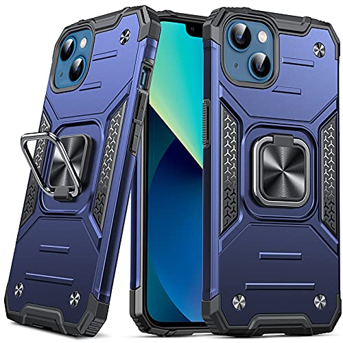 Anqrp Designed for iPhone 13 Case, Military Grade Protective Phone Case Cover with Enhanced Metal Ring Kickstand [Support Magnet Mount] Compatible with iPhone 13 6.1, Blue