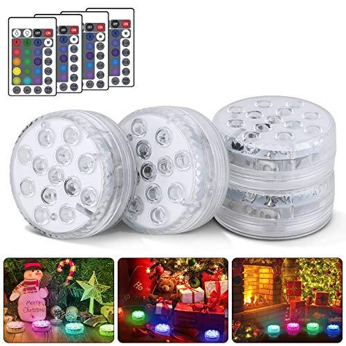 Unterwasser Licht, 4 Stücke RGB Multi Farbwechsel Wasserdichte LED Leuchten, Pool Licht für Vase Base Party Hochzeit Aquarium Teich Schwimmbad Halloween, Weihnachten
