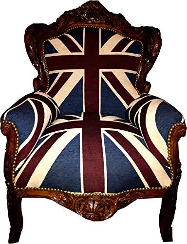 Casa Padrino sillón Barroco 'King' Union Jack/marrón - Muebles de Estilo Antiguo Bandera Inglesa