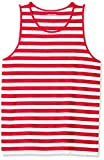 Amazon Essentials Men's Regular-fit Tank Top, Red/White, Large