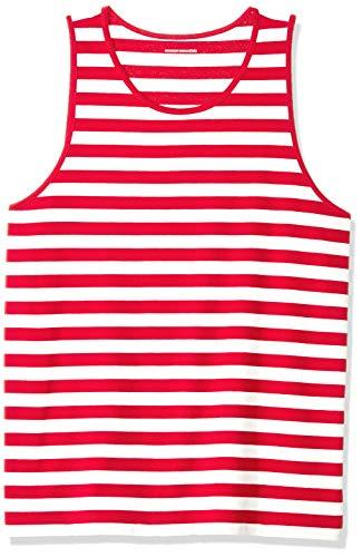 Amazon Essentials - Camiseta regular sin mangas para hombre, diseño de rayas, Rojo/Blanco, US S (EU S)