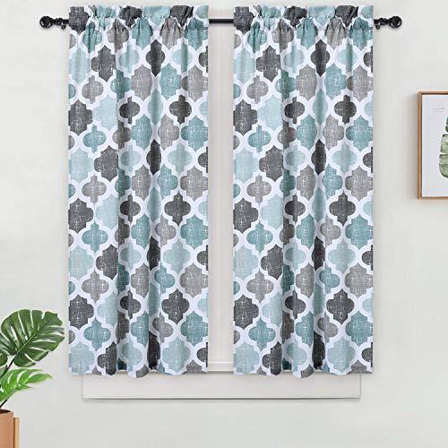 "Haperlare Quatrefoil Tier Curtains for Living Room, Moroccan Tile Printed Short Bathroom Window Curtain, Cotton Blend Half Window Kitchen Cafe Curtains, 28"" x 45"", Aqua/Grey, Set of 2"