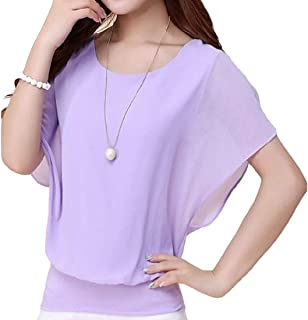 flywinner Women All-match Chiffon Blouse O-Neck Plus Size Short-Sleeve Tops T Shirt