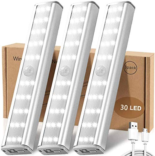 Motion Sensor Cabinet Light,30 LED Under Cupboard Light with Magnetic Strip,Wireless USB Rechargable Night Light, Auto On/Off,Stick-on for Cabinet Hallway Stairs Wardrobe Kitchen(3 Pack)