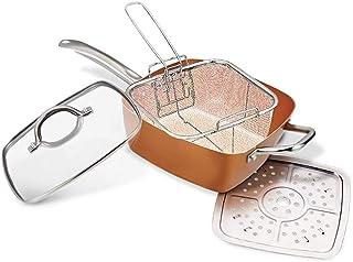 Olla multifunción de cobre súper resistente antiadherente y antiarañazos con accesorios – sartén para uso en horno, gas o inducción – 08