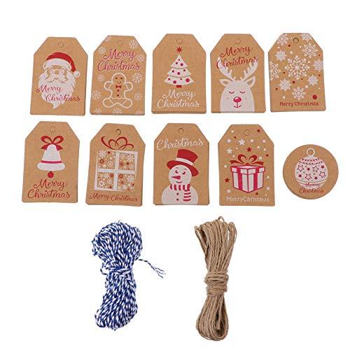BESPORTBLE 100 Stück Weihnachtsgeschenkanhänger Schneemann-Etikettenanhänger Santa Hängende Anhänger Papiernachrichtenkarten mit Hanf Und Baumwollseil für Feiertags-Partybevorzugungen