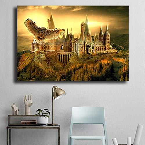 wZUN Hibou école Affiche poterie Toile Peinture Mur Art Imprimer Photo Chambre Enfants Chambre décoration 60x90 sans Cadre