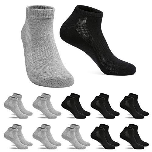 FALARY Sneaker Socken Herren Damen Sportsocken 10Paar Atmungsaktives Laufsocken Baumwollsocken Kurze Halbsocken 39-42 Schwarz Grau